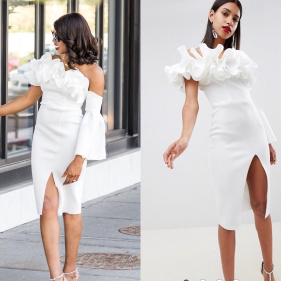 7b39a458db4 ASOS Premium Ruffle One shoulder midi dress